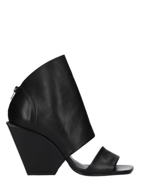 Tronchetto Open Toe Nero in pelle