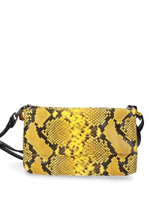 Yellow Snake Print Leather Bag