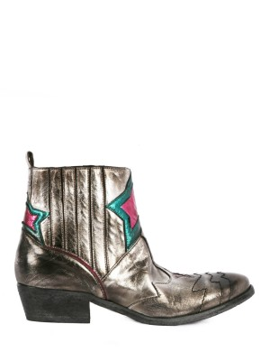 Low Silver Leather Ankle Boots