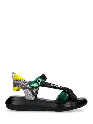 ULTRA-LIGHT PLATFORM SANDALS BLACK-GREEN