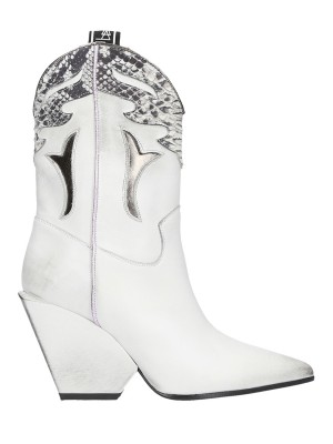 White Leather Texan Boots 90mm