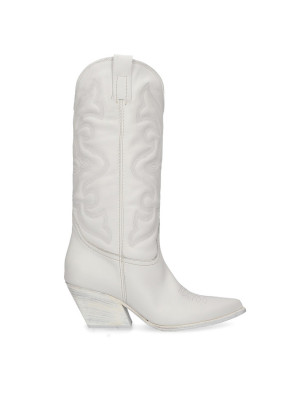 White Leather Texan Boots