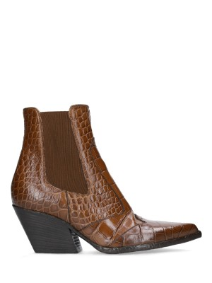 70mm Crocodile Stamp Leather Ankle Boots
