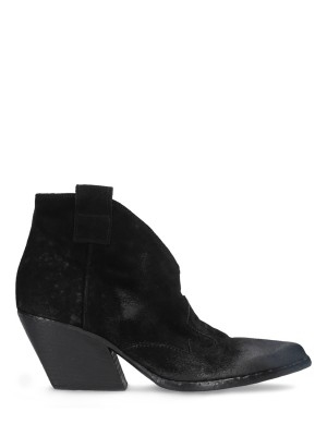 Black Texan Suede Low Ankle Boots