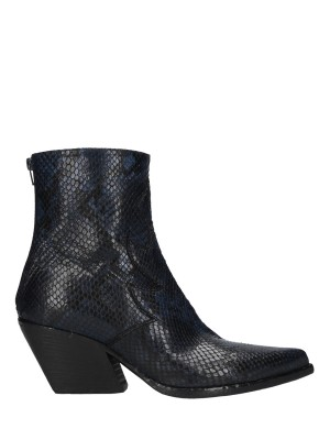 Blue Snake Stamp Leather Ankle Boots