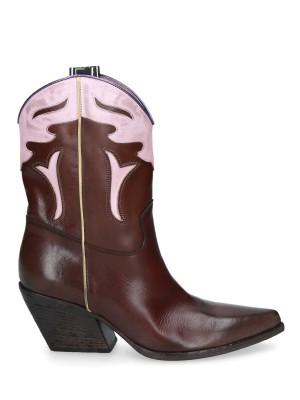70mm Brown Vintage Leather Ankle Boots
