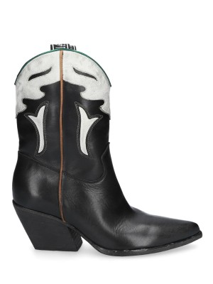Black Vintage Leather Ankle Boots