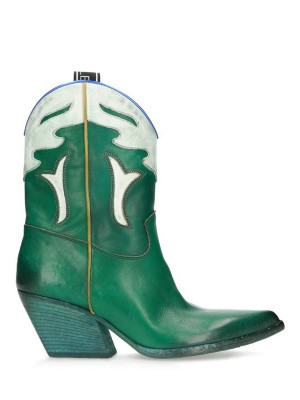Green Vintage Leather Ankle Boots