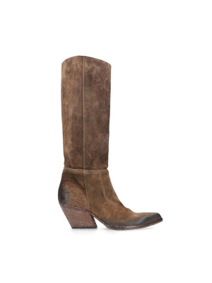 High Brown Suede Texan Boots