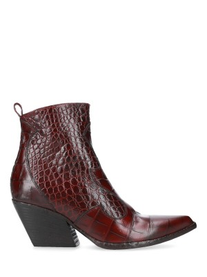 CROC EMBOSSED ANKLE BOOTS