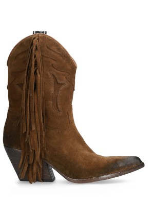 Fringed suede Texan ankle boot