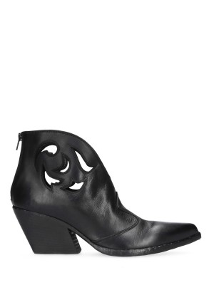 Carved leather ankle boot