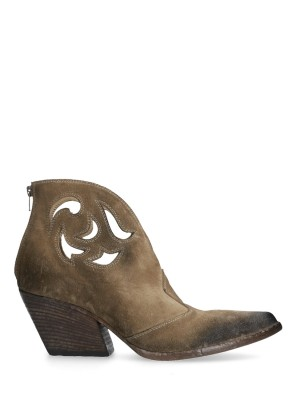 Carved suede ankle boot