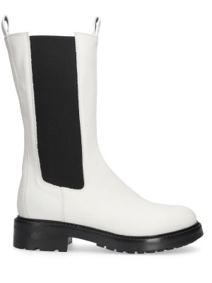 White Leather Rubber Ankle boots