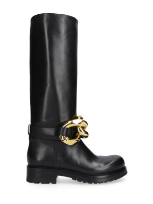 Black Leather Boots Gold Chain