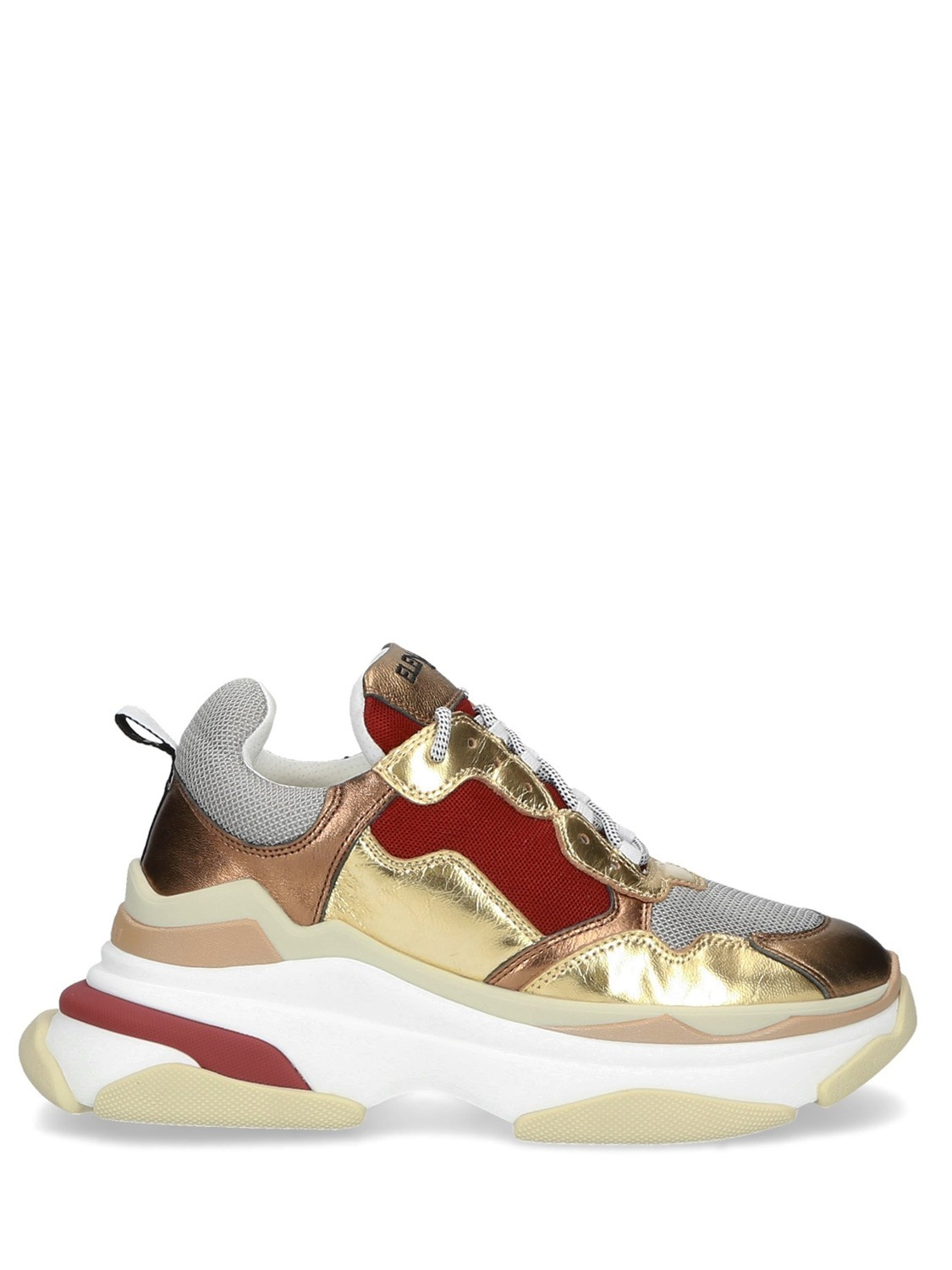70MM LEATHER SNEAKER RED GOLD FABRIC