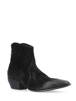 Black Suede Texan Ankle Boots 50mm