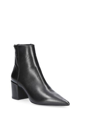 70mm Black Leather Ankle Boots