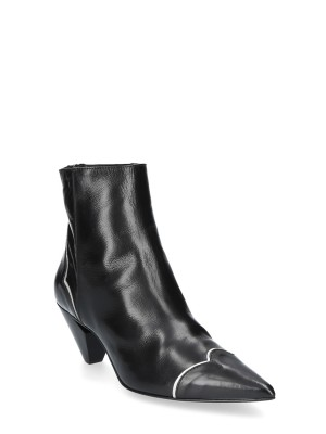 Black White Leather Ankle Boots