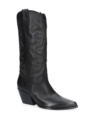 70MM Black Leather Texan Boots