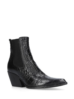 Black Croc Stamp Leather Ankle Boots