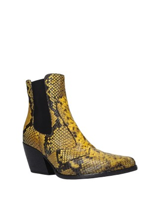 Yellow Snake Stamp Leather Ankle Boots