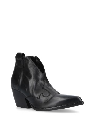 Black Texan Leather Low Ankle Boots