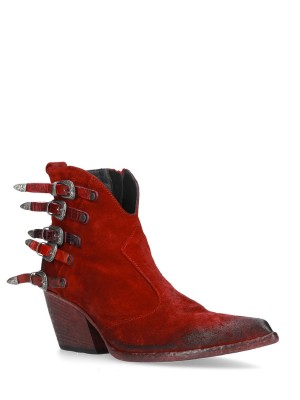 Red Suede Ankle Boots 70MM