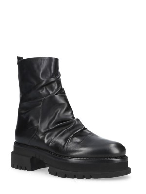 60MM Black Leather Rubber Ankle boots