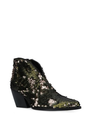 Sequins Texan Boots Army Green