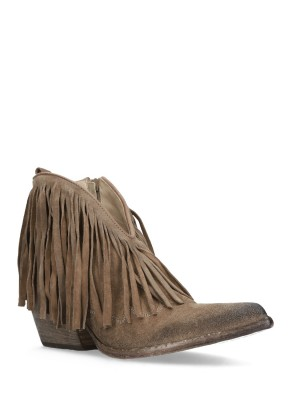 FRINGED SAND ANKLE BOOTS