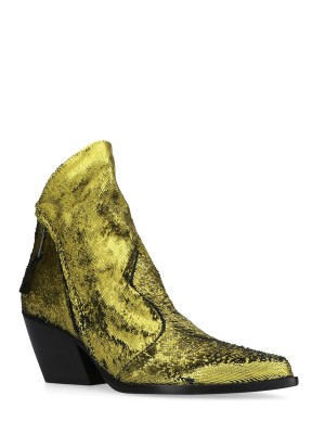 YELLOW SEQUINS ANKLE BOOTS