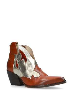 Orange Platinum Ankle Boots