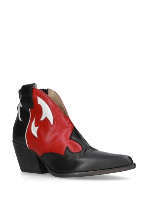 BLACK&RED ANKLE BOOT