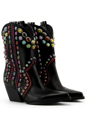 Black Leather Boots with stones