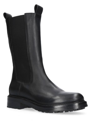 Black Leather Rubber Ankle boots