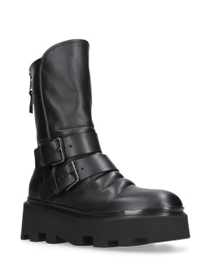 COMBAT ANKLE BOOTS BLACK LEATHER